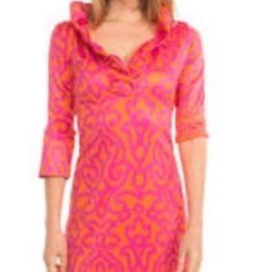 Gretchen Scott Ruffle Dress, Orange/Pink Arabesque